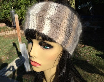 100% Angora Wool Head Band, hand knitted and  hand spun from my angora rabbits.