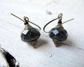 Black Drop Earring,  Bohemian Dangle, Czech Picasso Glass,  Boho Bijoux,  Antiqued Brass Jewelry, Black Dangle Earring, Funkified Elegance