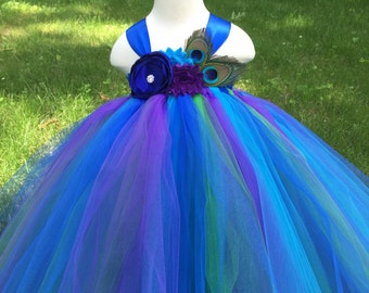 peacock tulle flower girl dress, girls peacock dress, girls peacock wedding tulle dress, peacock wedding, peacock costume
