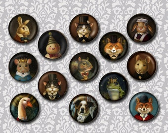 Animal Portrait Brooch , Animal Pin, Victorian, Round, Squirrel, Cat, Mouse, Fox, Dog, Stocking Stuffer, Secret Santa Gift, Animal Lover