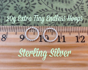 Extra Tiny Sterling Silver Twist Wire Endless Hoops