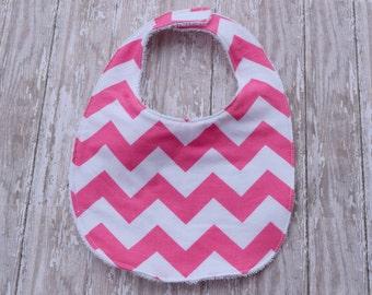 Terrycloth Baby Bib -Pink Chevron Bib