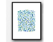 Rain Abstract watercolor painting green blue dots original little painting