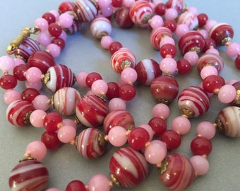 Peppermint Red Necklace Long Flapper Necklace hand knotted glass beads in red white peppermint stripes and pink Vanentines Day jewelry