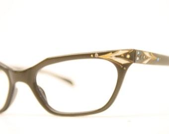 Brown rhinestone cat eye glasses vintage cateye frames