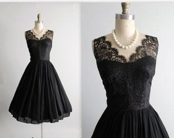 STOREWIDE SALE 50's Chiffon Dress // Vintage 1950's Black Lace Illusion Chiffon Full Cocktail Party Dress S