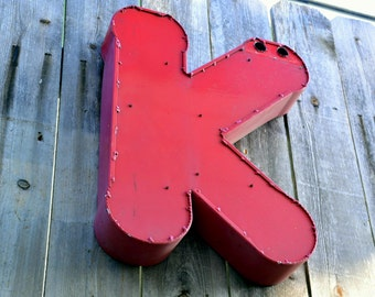 Vintage Marquee Sign Letter Capital 'K': Large Pink - Red Metal Wall Hanging Initial -- Industrial Neon Channel Advertising Salvage