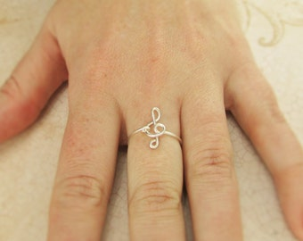 Treble Clef Ring, Sterling Filled Wire, Treble Clef Jewelry, G Clef Ring, Music Note Ring, Music Gift Ideas, Musician Gift Silver Music Ring