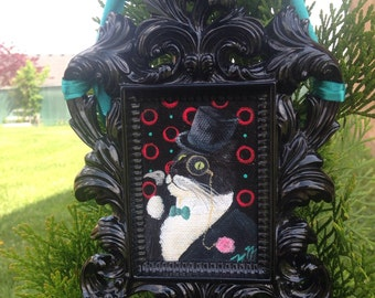 Fancy Jellicle Lad -- Tuxedo Cat in Top Hat with Monocle and Cane -- Original OOAK Mini Painting