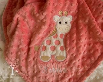 Giraffe Personalized Minky Baby Blanket, Personalized Minky Baby Blanket,  Coral and Ivory Giraffe Appliqued Blanket, Giraffe Minky Blanket