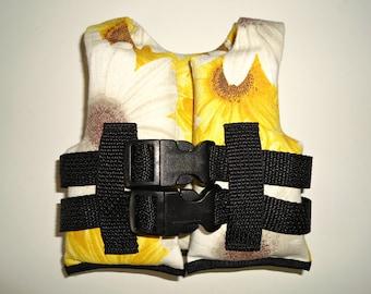 Life Vest Jacket fits 18 inch doll White Yellow Sunflowers Swimwear