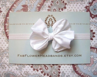 White Large Bow Headband - White Baby Big Bow Headband - Big Bow Newborn Headband - Messy Bow Headband - White - Baptism - Christening