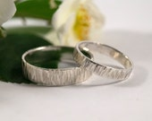 Silver Bark Effect Wedding Bands: A Set of his and hers Sterling silver Bark effect wedding rings