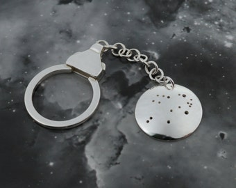 Silver Libra keyring: The constellation of Libra on a sterling silver keychain