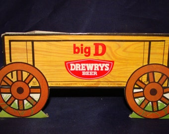 Drewerys Beer Counter Top Display Wagon Litho on Cardboard Very Rare South Bend