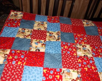 "COWGIRL UP QUILT New baby quilt W/Cowgirls/lassoes/horseshoes appx 36"" x 40""/Baby Shower Gift"