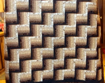 """FINAL MARKDOWN quilt (appx 65' X 78"""") and FREE table/dresser runner Rail Fence browns and beiges"""