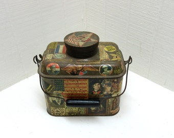Vintage Coal Miners Lunch Box Decoupaged Miners Lunch Box