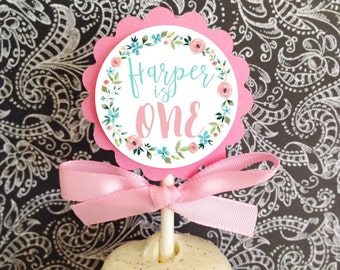 12 first birthday cupcake toppers, floral 1st birthday party toppers, floral wreath 1st birthday cupcake toppers, pink blue first birthday