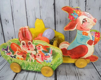 Wooden Bunny Rabbit Wagon, Toy Kraft 1940s, Vintage Easter Decor, Easter Egg Cart, Spring Toy