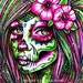 Pop Art Tattoo Signed Print - Day of the Dead Sugar Skull Girl Tattoo Flowers Roses Colorful - Revive III - 5x7, 8x10, or Apprx 11x14 in