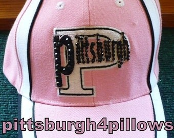 Save 10% Ladies - Pittsburgh Rhinestone Baseball Caps - Pink,Black & White - Adjustable