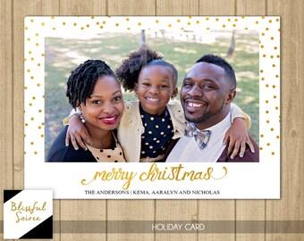 Photo Christmas Card | Merry Christmas Card | Gold Christmas card | Gold Confetti | Holiday Photo Card