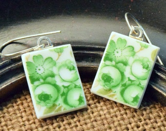 Jade Roses-  Recycled Broken China Plate Earring Set - Gift Set