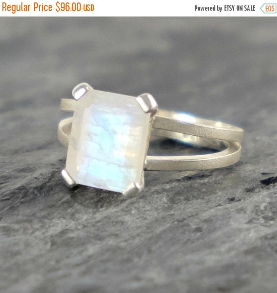 Moonstone Engagement Ring , Rainbow Moonstone Sterling Silver Ring , Faceted Rainbow Moonstone Jewelry Emerald Cut Ring - MADE TO ORDER