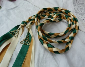 Celtic hand fasting cord- dark green, gold and ivory - bronze Celtic triquetra charms