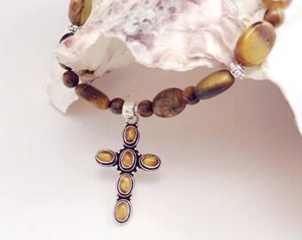 Tiger Eye Cross Necklace