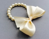Flower Girl Pearl Bracelet Flower Girls Gifts In Cream Swarovski Crystal Pearls With Cream Satin Ribbon