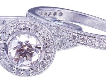 18K White Gold Round Cut Diamond Engagement Ring and Band Bezel 1.55ctw H-VS2 EGL USA