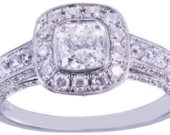 GIA D-SI1 14k White Gold Cushion Cut Diamond Engagement Ring Bezel 1.70ctw
