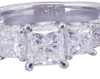 14k White Gold Princess Cut Diamond Engagement Ring Antique 1.60ct G-VS2 EGL USA