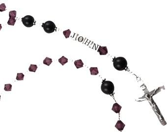 Amethyst First Communion Rosary/ Birthstone Colors/ Christening Baptism Rosary personalized name, Boy Girl Christening Catholic Prayer Beads