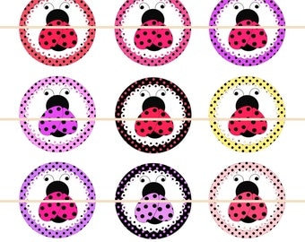 """Lady Bug Magnets, Lady Bug Pins, Lady Bug Party Favors, Lady Bug Hair Bow Supply, Lady Bug Cabochons, 1"""" Inch, 12 ct."""