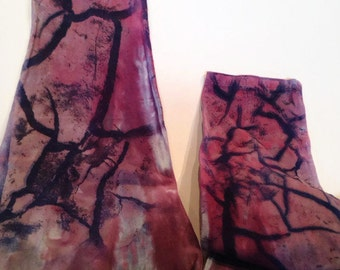 Hand Dyed Leggings | Cotton Capri Leggings | Pink and Purple Gemstone Leggings | Workout Clothes | Dance Clothes | Post Apocalypse Style