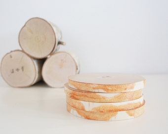 natural white birch wood coasters - set of 4, modern rustic coasters, wood slice coasters,  tree branch coasters