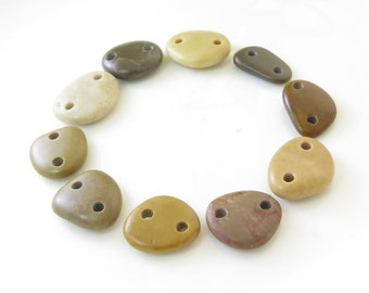 Double Drilled Natural Beach Stone Connectors- Medium Organic Beads- 10 pcs Jewelry supplies