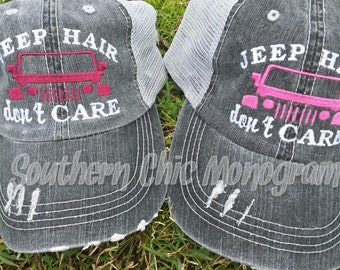 Jeep Hair don't care trucker cap mesh back distressed hat velcro adjustable