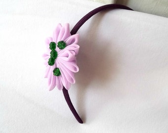 Purple Flower Headband with Forest Green Beads