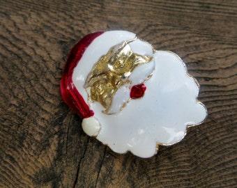 Santa Brooch Enameled Metal and Gold Tone Santa Head Christmas and Holiday Brooch