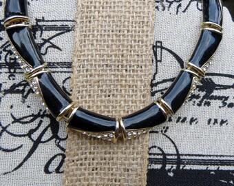 Black Enamel and Rhinestone Choker Necklace Vintage Jewelry Gold tone Metal