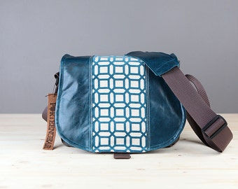 Medium - Leather Camera Bag New Satchel Turquoise Hex Leather DSLR - IN STOCK