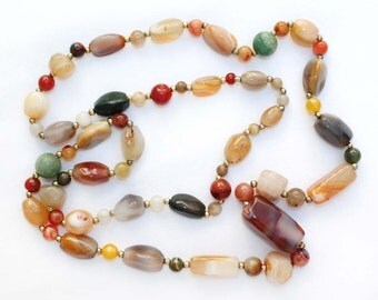 Colorful Polished Stone and Gold Spacer Bead Vintage Necklace