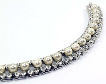 Vintage Antique White Faux Pearl and Crystal Rhinestone Bookchain Bracelet