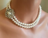 Bridesmaid Necklace Wedding Jewelry Bridal Pearl Necklace with Brooch rhinestone 2 double strands of Swarovski Pearls bridal jewelry gifts
