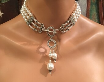 Pearl Choker Necklace Set Victorian Great Gatsby style Elegant 3 Strands Ivory or Your Color Choice Downton Abbey bridal wedding jewelry