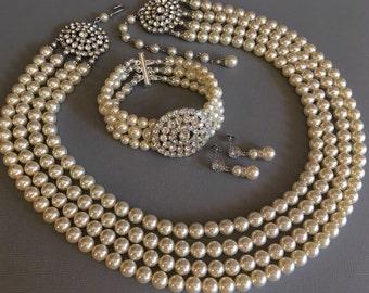 Complete Bridal Jewelry Set Pearl Necklace Bracelet Earrings 4 strands Swarovski pearls in Cream Ivory wedding